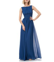 women's kay unger sleeveless fit & flare chiffon evening gown, size 4 - blue/green