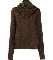 johanna ortiz removable scarf chunky knit sweater - green