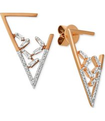 le vian baguette frenzy diamond triangle drop earrings (3/8 ct. t.w.) in 14k rose gold