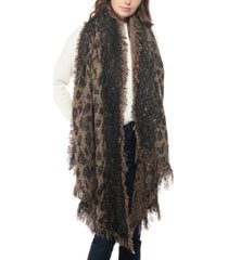 inc leopard-print sequinned blanket scarf, created for macy's