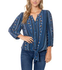women's crinkle woven printed tie front top