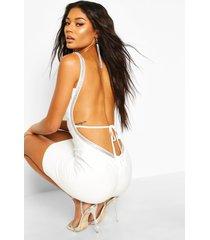 bandage diamante backless mini dress, white