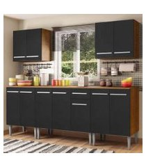cozinha completa madesa emilly king com balcão e armário - rustic/preto rustic/preto