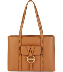 cammello faux leather tote