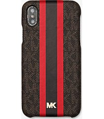 mk custodia a righe con logo per iphone x/xs - marrone/rosso brillante (rosso) - michael kors