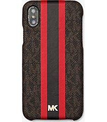 mk custodia a righe con logo per iphone x/xs - marrone/rosso brillante (rosso) - michael kors