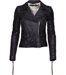 seattle new thin leather jacket leren jack leren jas zwart mdk / munderingskompagniet