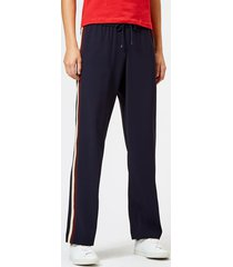 kenzo women's crepe back satin trousers - navy blue - uk 8/eu 38 - blue