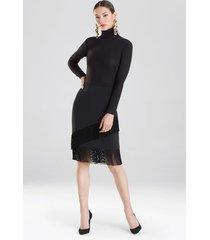 crepe fringe skirt, women's, black, size 14, josie natori