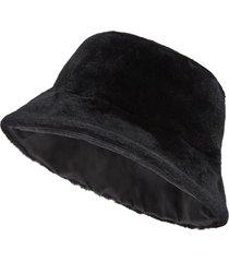 fendi fur-finished bucket hat - black