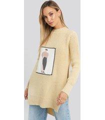 na-kd applique oversized sweater - beige