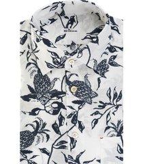 kiton white/navy-blue cotton floral-print cotton shirt