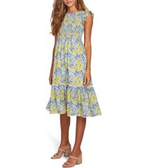 lost + wander blossom & bloom floral smocked dress, size x-large in blue yellow floral at nordstrom