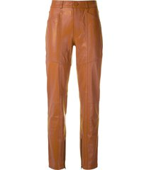 eva leather paneled trousers - brown