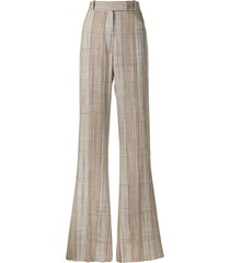 golden goose long plaid trousers - brown
