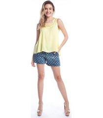 blusa ralm tricot regata rendada decote feminina - feminino