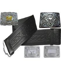 scottish kilt belt embossed leather swirl celtic design various buckles antique