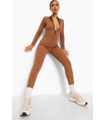 geribbelde jumpsuit met rits, chocolate