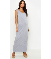 maternity scoop neck maxi dress, light grey