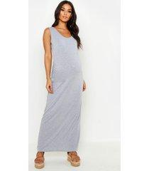 zwangerschap maxi jurk met ronde hals, light grey