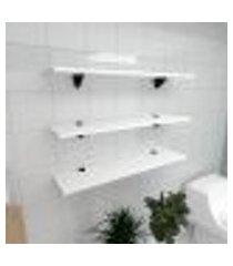 kit 3 prateleiras para banheiro em mdf suporte tucano branco 90x20cm modelo pratbnb09