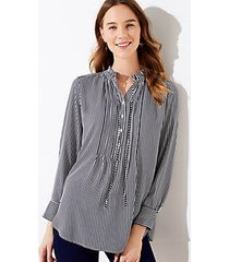 loft petite striped pintucked tunic blouse