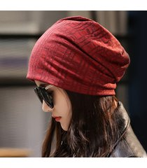 berretto da viaggio casual da esterno per donna a righe in cotone caldo invernale