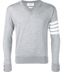thom browne fine merino wool vneck pullover - grey