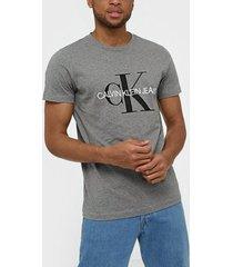 calvin klein jeans iconic monogram ss slim tee t-shirts & linnen grå