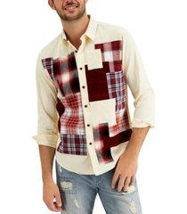 sun + stone men's lawrence regular-fit patchwork corduroy shirt