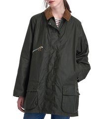 women's barbour x alexa chung edith waxed cotton jacket - grey - size 4