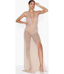 missguided drop pearl embellished dress maxiklänningar