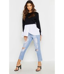 double layer sweat smock top