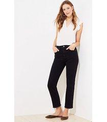 loft frayed high waist straight crop jeans in washed black