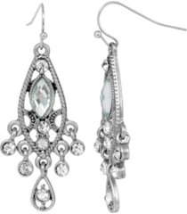 2028 women's silver tone light blue faceted and crystal drop earrings