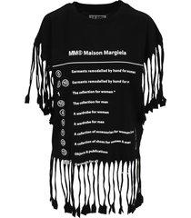 mm6 maison margiela mm6 logo fringed t-shirt