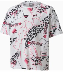 alpha t-shirt met print, wit, maat 164 | puma