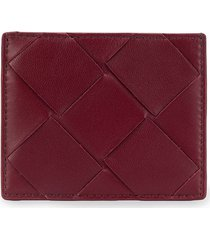 bottega veneta maxi weave card case - red