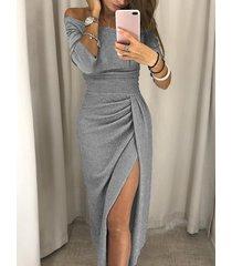 gris fuera del hombro medias mangas fruncidas vestido