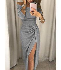 gris fuera del hombro medias mangas fruncido vestido