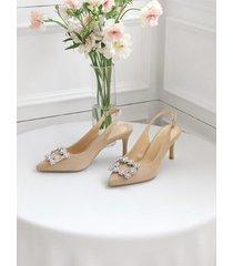 sandalias puntiagudas de gamuza transparente de moda