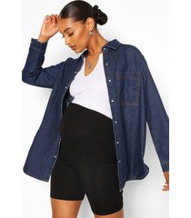 maternity oversized denim shirt, mid blue