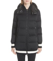 women's moncler harfang quilted down bomber coat, size 4 - black