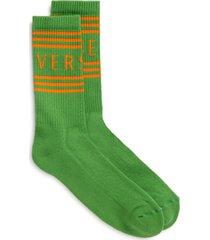 men's versace logo cotton blend crew socks, size medium - green