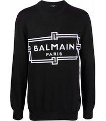 balmain black merino wool sweater