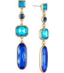 rachel rachel roy gold-tone multi-crystal linear drop earrings