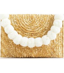 heather pom pom envelope clutch - ivory