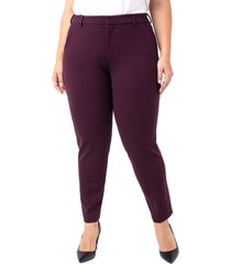 plus size women's liverpool kelsey ponte knit trousers, size 18w - red