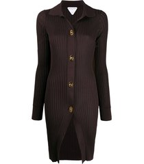 bottega veneta long-length ribbed-knit cardigan - brown