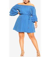 city chic trendy plus size sunshine stripe dress